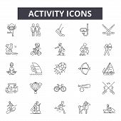 Activity Line Icons, Signs Set, Vector. Activity Outline Concept, Illustration: Activity, Sport, Man poster
