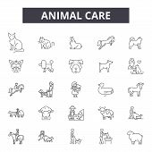 Animal Care Line Icons, Signs Set, Vector. Animal Care Outline Concept, Illustration: Care, Animal,  poster
