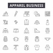 Apparel Business Line Icons, Signs Set, Vector. Apparel Business Outline Concept, Illustration: Busi poster