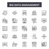 Big Data Management Line Icons, Signs Set, Vector. Big Data Management Outline Concept, Illustration poster