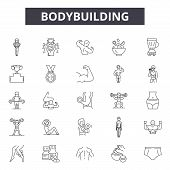 Bodybuilding Line Icons, Signs Set, Vector. Bodybuilding Outline Concept, Illustration: Gym, Fitness poster