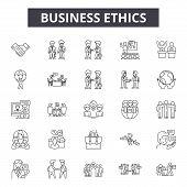 Business Ethics Line Icons, Signs Set, Vector. Business Ethics Outline Concept, Illustration: Busine poster