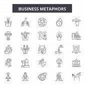 Business Metaphors Line Icons, Signs Set, Vector. Business Metaphors Outline Concept, Illustration:  poster