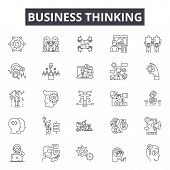 Business Thinking Line Icons, Signs Set, Vector. Business Thinking Outline Concept, Illustration: Bu poster