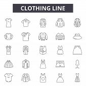 Clothing Line Line Icons, Signs Set, Vector. Clothing Line Outline Concept, Illustration: Clothing,  poster