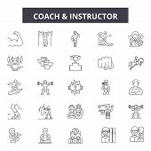 Coach And Instructor Line Icons, Signs Set, Vector. Coach And Instructor Outline Concept, Illustrati poster