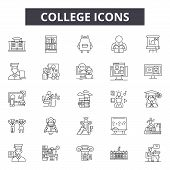 College Line Icons, Signs Set, Vector. College Outline Concept, Illustration: Education, School, Col poster