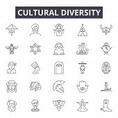Cultural Diversity Line Icons, Signs Set, Vector. Cultural Diversity Outline Concept, Illustration:  poster