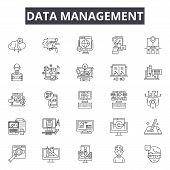 Data Management Line Icons, Signs Set, Vector. Data Management Outline Concept, Illustration: Data,  poster