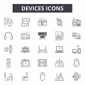 Devices Line Icons, Signs Set, Vector. Devices Outline Concept, Illustration: Phone, Mobile, Laptop, poster