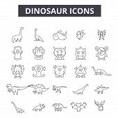 Dinosaurs Line Icons, Signs Set, Vector. Dinosaurs Outline Concept, Illustration: Dinosaur, Animal,  poster