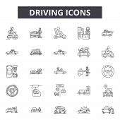 Driving Line Icons, Signs Set, Vector. Driving Outline Concept, Illustration: Car, Auto, Drive, Vehi poster