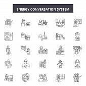 Energy Conversation System Line Icons, Signs Set, Vector. Energy Conversation System Outline Concept poster