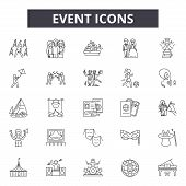 Event Line Icons, Signs Set, Vector. Event Outline Concept, Illustration: Event, Calendar, Isolated, poster