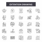 Extention Drawing Line Icons, Signs Set, Vector. Extention Drawing Outline Concept, Illustration: De poster