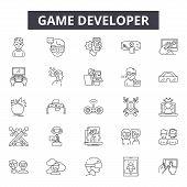 Game Developer Line Icons, Signs Set, Vector. Game Developer Outline Concept, Illustration: Game, We poster