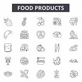 Food Products Line Icons, Signs Set, Vector. Food Products Outline Concept, Illustration: Food, Prod poster