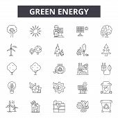 Green Energy Line Icons, Signs Set, Vector. Green Energy Outline Concept, Illustration: Energy, Gree poster