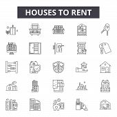 Houses To Rent Line Icons, Signs Set, Vector. Houses To Rent Outline Concept, Illustration: House, R poster