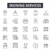Ironing Services Line Icons, Signs Set, Vector. Ironing Services Outline Concept, Illustration: Iron poster