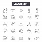 Manicure Line Icons, Signs Set, Vector. Manicure Outline Concept, Illustration: Manicure, Beauty, Ca poster