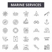 Marine Services Line Icons, Signs Set, Vector. Marine Services Outline Concept, Illustration: Marine poster