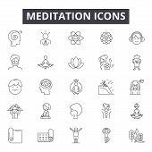 Meditation Line Icons, Signs Set, Vector. Meditation Outline Concept, Illustration: Yoga, Meditation poster