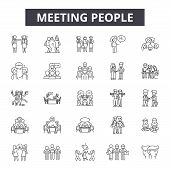 Meeting People Line Icons, Signs Set, Vector. Meeting People Outline Concept, Illustration: Team, Pe poster