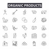 Organic Products Line Icons, Signs Set, Vector. Organic Products Outline Concept, Illustration: Prod poster