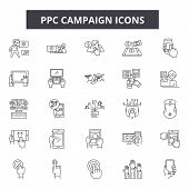 Ppc Campaign Line Icons, Signs Set, Vector. Ppc Campaign Outline Concept, Illustration: Ppc, Campaig poster