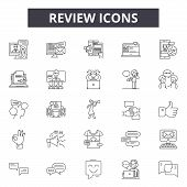 Review Line Icons, Signs Set, Vector. Review Outline Concept, Illustration: Review, Business, Rating poster