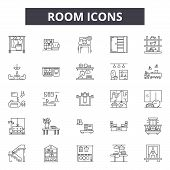 Room Line Icons, Signs Set, Vector. Room Outline Concept, Illustration: Room, Office, Interior, Defu poster