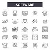 Software Line Icons, Signs Set, Vector. Software Outline Concept, Illustration: Software, Computer,  poster
