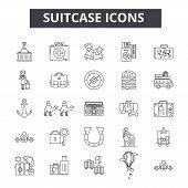 Suitcase Line Icons, Signs Set, Vector. Suitcase Outline Concept, Illustration: Suitcase, Travel, Bu poster