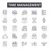 Time Management Line Icons, Signs Set, Vector. Time Management Outline Concept, Illustration: Time,  poster