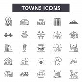 Towns Line Icons, Signs Set, Vector. Towns Outline Concept, Illustration: City, Town, Urban, House,  poster