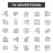Tv Advertising Line Icons, Signs Set, Vector. Tv Advertising Outline Concept, Illustration: Tv, Adve poster