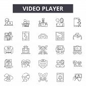 Video Player Line Icons, Signs Set, Vector. Video Player Outline Concept, Illustration: Video, Media poster