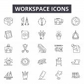 Workspace Line Icons, Signs Set, Vector. Workspace Outline Concept, Illustration: Workspace, Office, poster