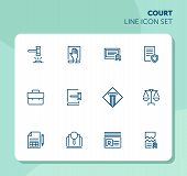 Court Line Icon Set. Gavel, Oath, Scale. Law Concept. Can Be Used For Topics Like Courthouse, Trial, poster