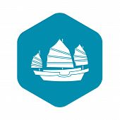 Junk Boat Icon. Simple Illustration Of Junk Boat Vector Icon For Web poster