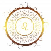Astrological Symbols In The Circle. Golden Metallic Gradient. Lion Sign poster