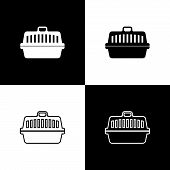 Set Pet Carry Case Icons Isolated On Black And White Background. Carrier For Animals, Dog And Cat. C poster