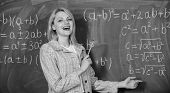 Confident In Her Knowledge. Home Schooling. Happy Woman. Teacher On School Lesson At Blackboard. Bac poster