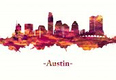 Red Skyline Of Austin, The State Capital Of Texas, An Inland City Bordering The Hill Country Region poster