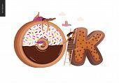 Dessert Lettering - Ok - Modern Flat Vector Concept Digital Illustration Of Temptation Font, Sweet L poster