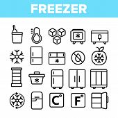 Freezer, Cooling Appliance Linear Vector Icons Set. Frosting And Icing Thin Line Contour Symbols. Co poster
