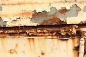 Old Worn Metal Surface With Paint. Rusty Metal Texture. Metal Sheet With Rust And Worn Paint, Metal  poster