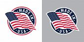 Made In Usa (united States Of America). Composition With American Flag For Badge, Label, Pin, Etc. V poster