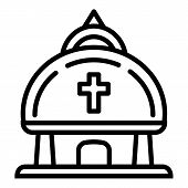 Christian Temple Icon. Outline Christian Temple Vector Icon For Web Design Isolated On White Backgro poster